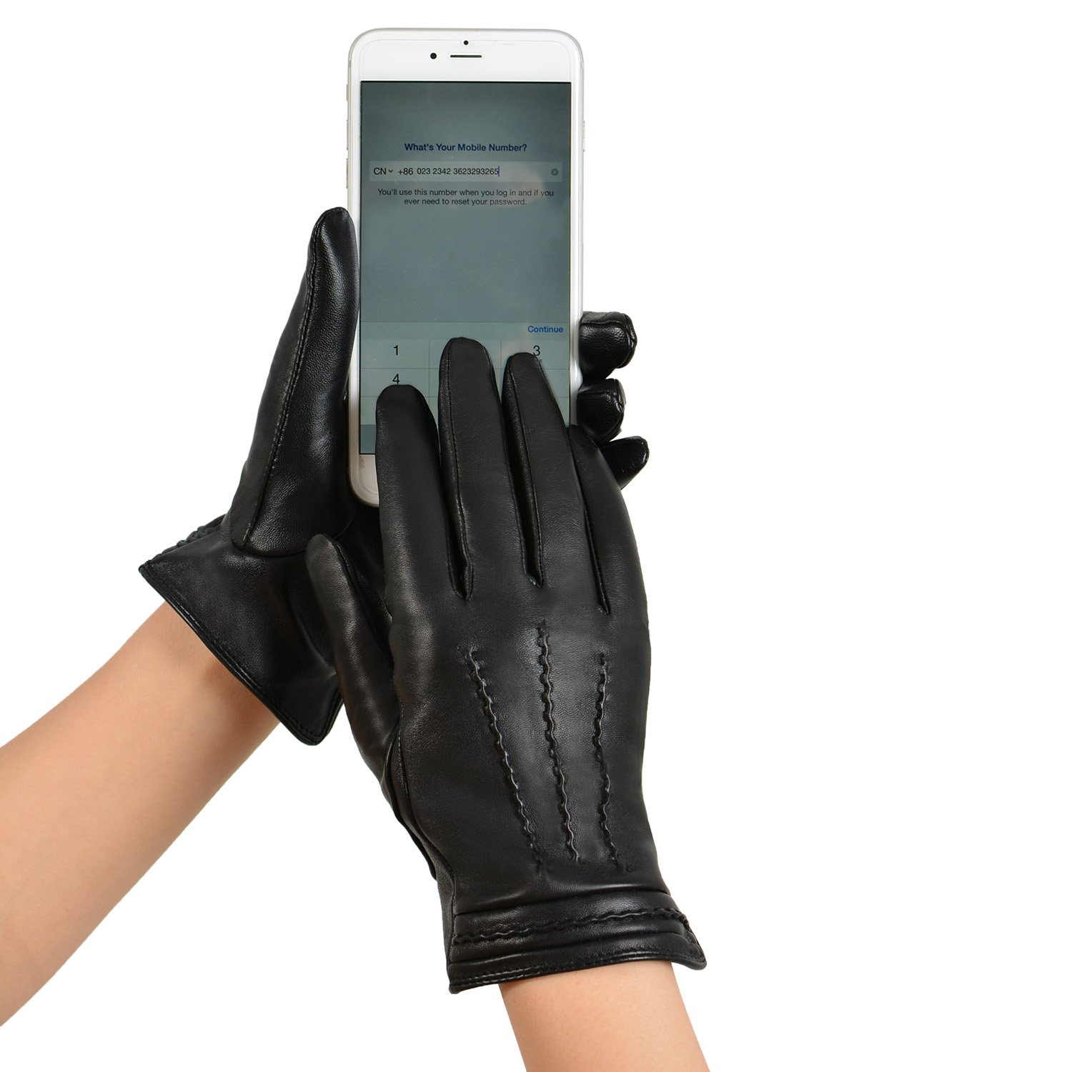 GSG Womens Winter Full Palm Touchscreen Italian Genuine Nappa Leather Gloves Lady Driving Couple Gloves L Black-HI