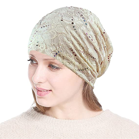 Chemo Hat Women Beanie Hat Bufanda de Cabeza de Encaje Super Soft Slouchy Turban Headwear Head