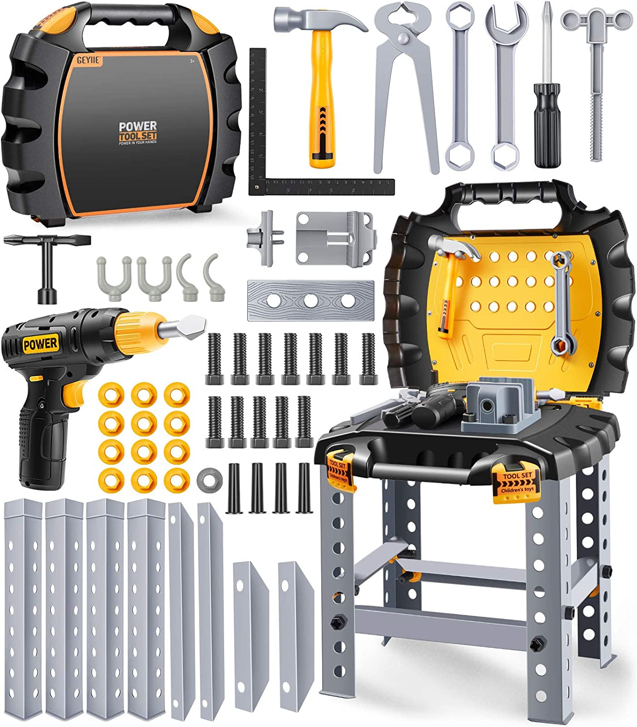 Geyiie Kids Tool Set Construction Workbench Toys,54 Pcs Tool Bench Kit Contains Realistic Power Drill and Other Accessaries Preschool Educational Toy Gift for Child Boys and Girls