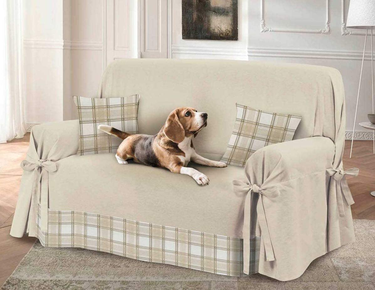 Dog and Cat Hairs Quality Cotton Cover and Protection from Dust Made in Italy Divano 2 Posti beige Plain Sofa Cover Tartan Insert Stains HomeLife 2 or 3 Seater Sofa Cover