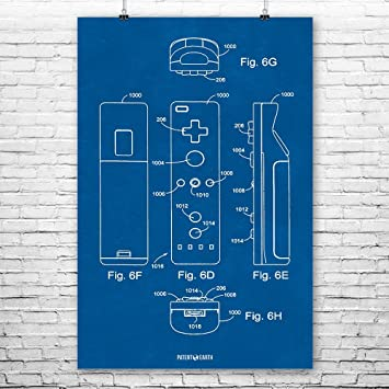 Amazon nintento wii controller poster patent art print nintento wii controller poster patent art print blueprint 18quot malvernweather Gallery