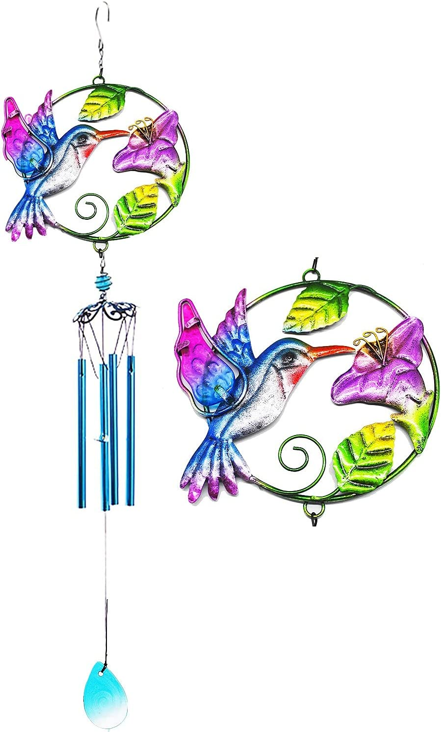 Usdrew Wind Chimes, Classic Old-Fashioned Paint Hummingbird Wind Chime, A Beautiful Gift for Your Patio, Garden, and Outside Home Décor