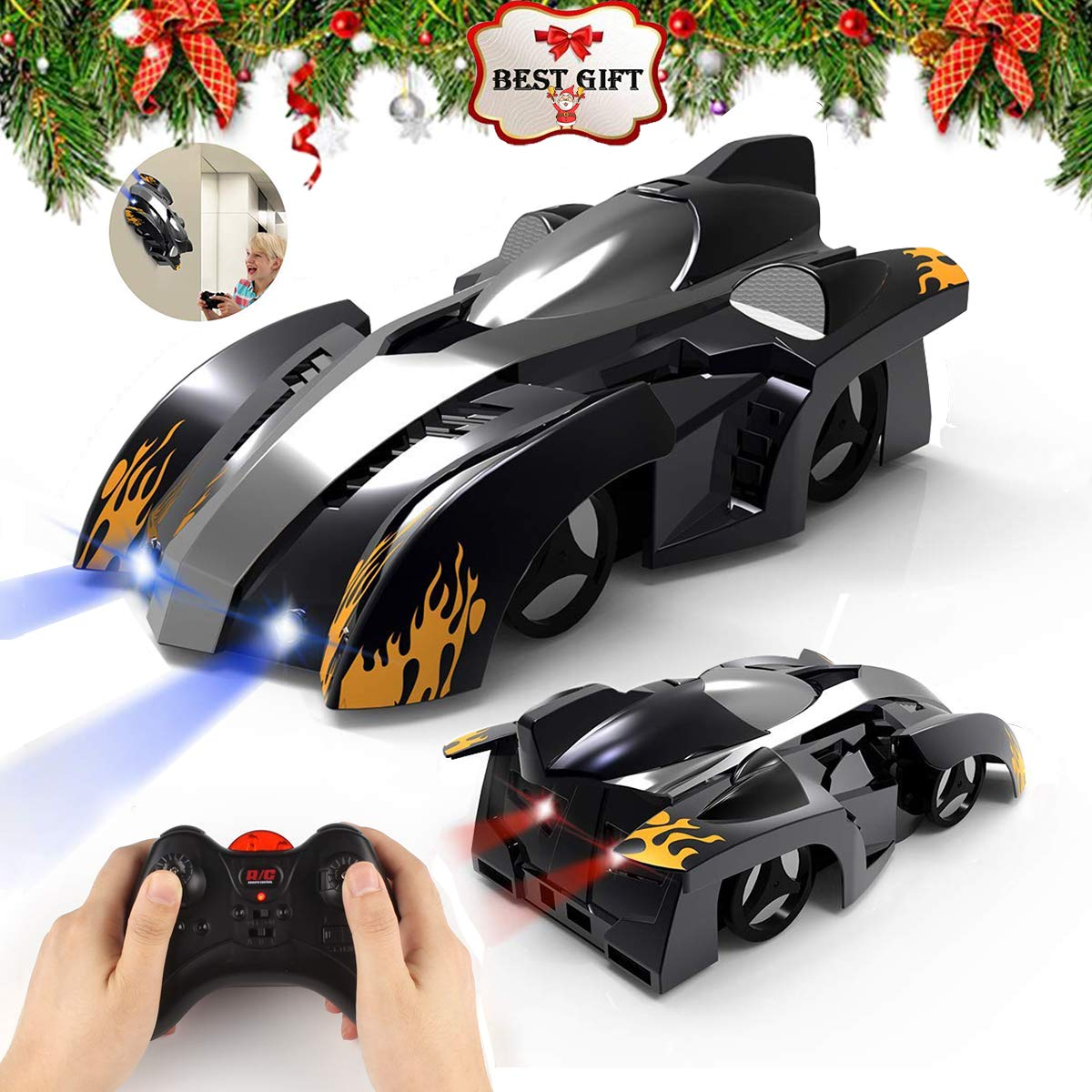 Remote Control Car, Morpilot Rechargeable Kids Toys Wall Climbing Cars with upgrade Remote Control, Dual Mode 360° Rotation Stunt RC Cars Vehicles, LED Head Gravity-Defying, Gift for Kids Boy Girl Teenagers Adults Birthday Gifts