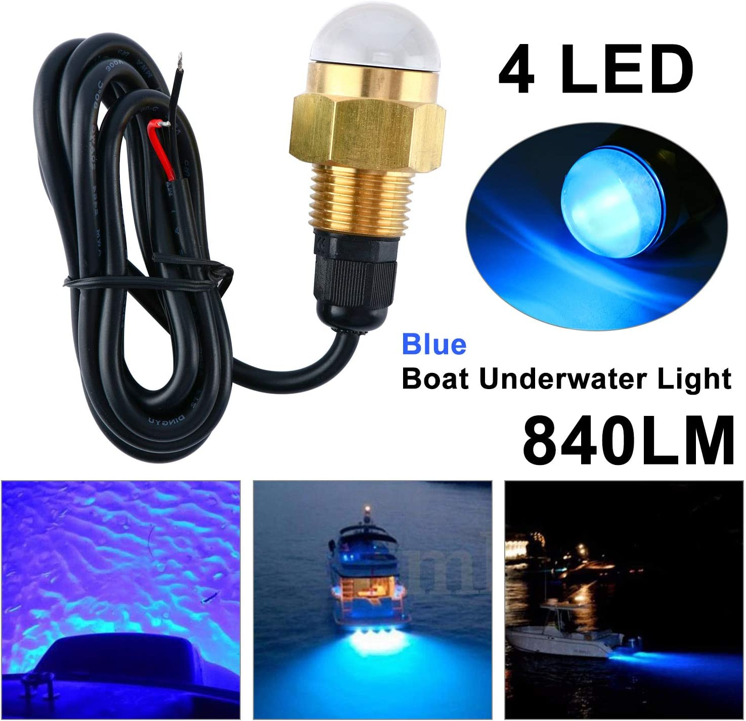 DasMarine 12V 1/2'' NPT Brass 4 LED Underwater Drain Plug Light Blue Marine Boat Fish Ship