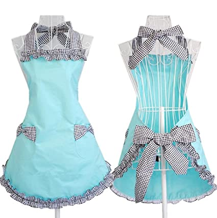 Aprons for Women, Cooking Retro Vintage Kitchen Aprons Plus Size with Extra  Ties (Black)