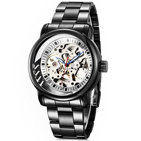 Alienwork IK Reloj Mecánico Automático Relojes Automáticos Hombre Mujer Acero inoxidable negro Analógicos Unisex blanco Impermeable: Amazon.es: Relojes