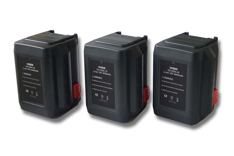 vhbw Sparset 3x Li-Ion Akku 4000mAh (18V) für Werkzeuge Gardena AccuCut 8840, 8841 wie 8835-U, 8835-20, 8839, 8839-20.