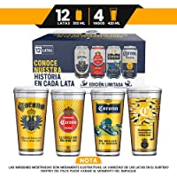 Pack Corona Quality 12 latas de 355ml + 4 vasos de vidrio coleccionables