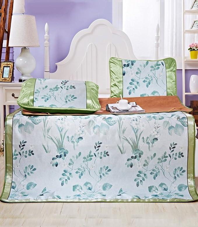Utilisation double face tapis de lit --- Tapis à glace imprimé Mat d'été Tapis antidérapant Tapis simple et double Tapis de sol pliant / Tapis de couchage --- tapis de lit pliant en bambou n