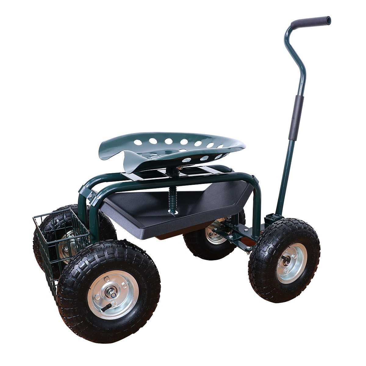 Yardeen Gardening Cart Workseat with Height Adjustable Garden Rolling Scooter with Tool Tray Planting Station with Anti-Skid 10'' Wheels