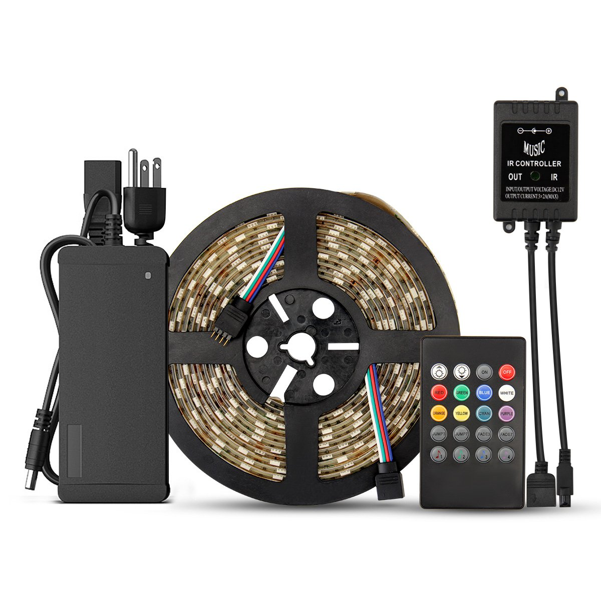 SUPERNIGHT 5M 300LEDs RGB Waterproof Flexible 5050 LED Strip Light with 20Key IR Music Remote Controller (RGB+20Keys Remote +Power Supply)