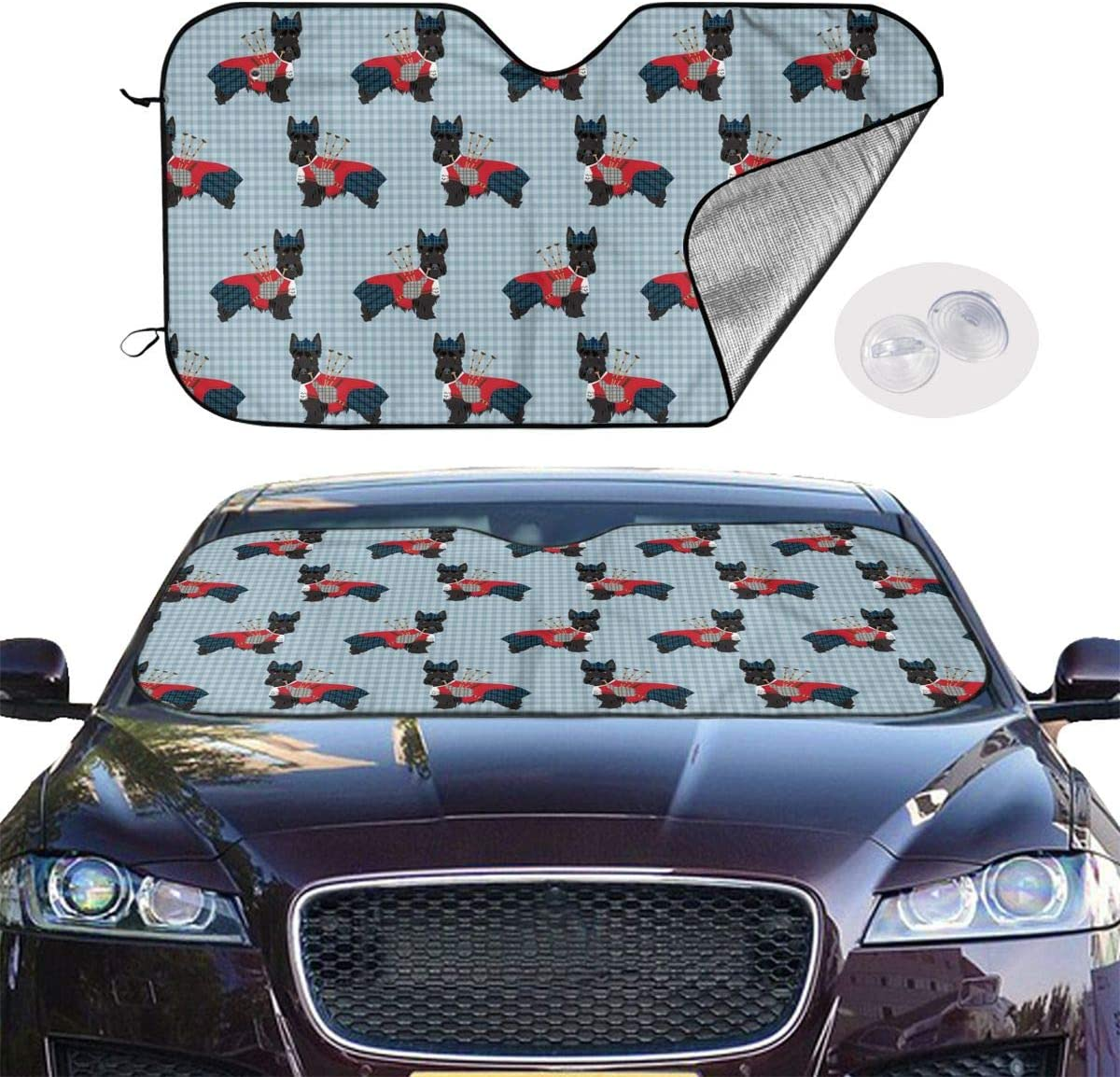 Scottie Dog with Bagpipes Universal Car Windshield Sun Shade 27.5 X 51.2in Car Front Window Sunshade-Uv Protection and Keeps Your Car Cool Heat-Universal Fit Easy Fold Storage
