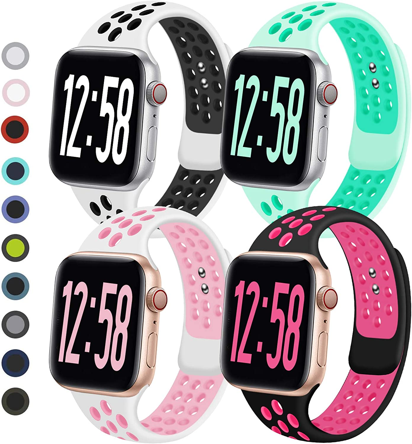 Geoumy 4 Pack Sport Band Compatible for Apple Watch Bands 38mm 40mm 42mm 44mm, Breathable Soft Silicone Band Replacement Wristband Men Women Compatible with iWatch Series 1/2/3/4/5/6 SE