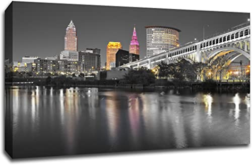 Cleveland Touch of Color Skyline 32×48 Gallery Wrapped Canvas Wall Art