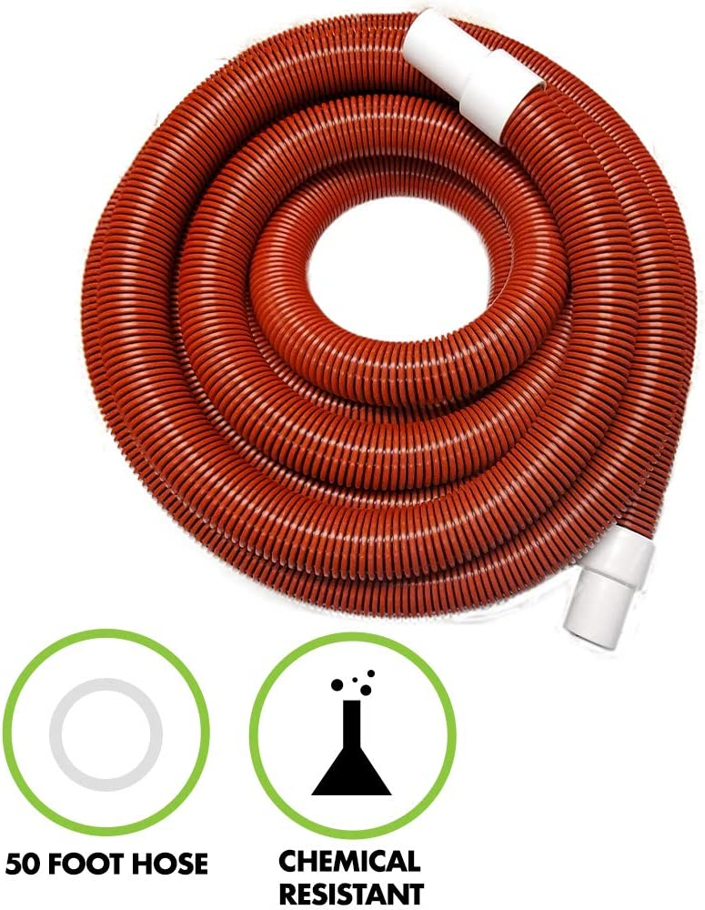 Puri Tech 1.5 Inch Diameter x 50' Feet Long Commercial Service Vacuum Hose for In-Ground Swimming Pools Heavy Duty Protected from UV & Chemicals