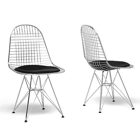 Amazon.com: Baxton Studio Avery alambre silla de comedor con ...