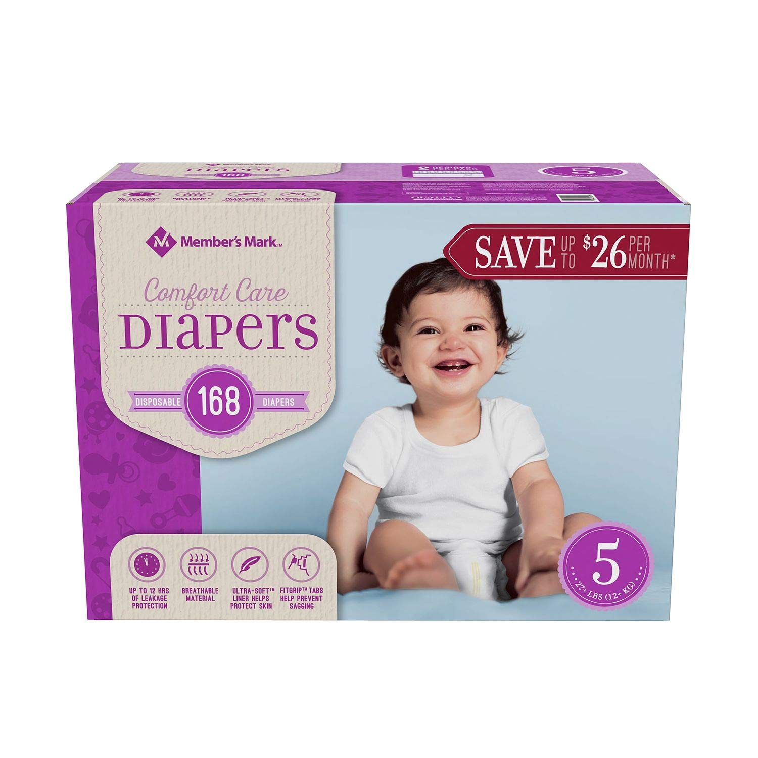 Member's Mark Comfort Care Baby Diapers Size 5 - 168 ct. (27+lbs.) by Member's Mark