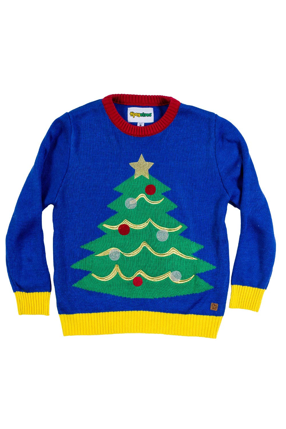 Tipsy Elves Children's Christmas Tree Ugly Christmas Sweater - Youth Ugly Sweater: Medium Blue