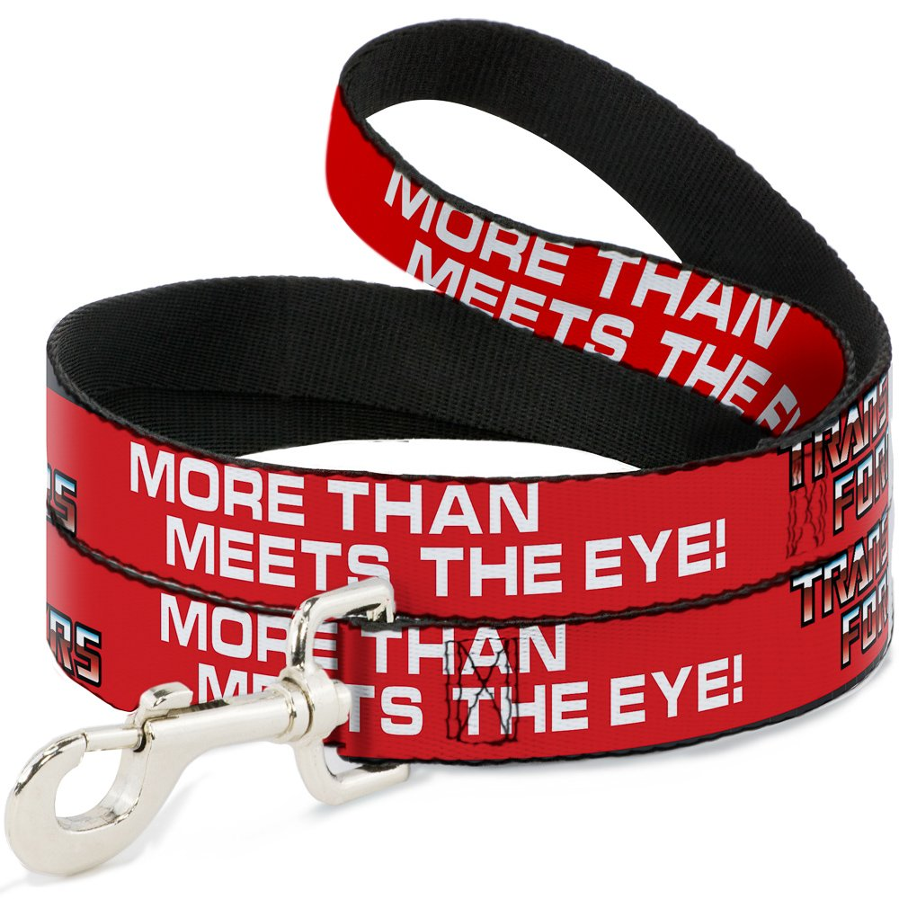 Buckle-Down Pet Leash Autobot The Transformers More Than Meets The Eye Red White 6 Feet Long 1.5  Wide