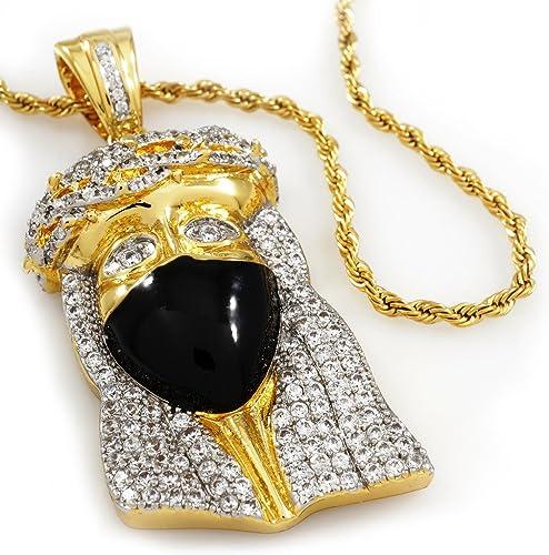 Imitación Diamante Totalmente Helado Micro Chapado En Oro Angel Colgante Y Cadena De Bola