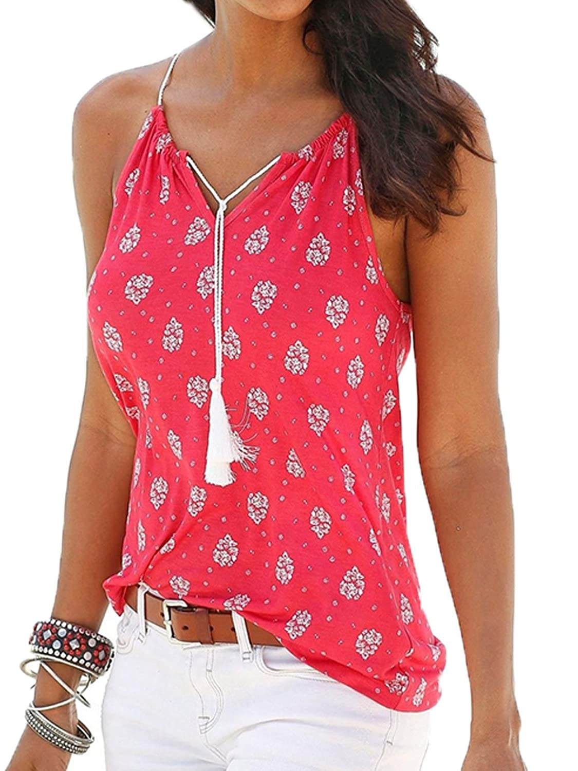 Famulily Women's Print Sleeveless Spaghetti Strap Tank Tops Camisole Vest