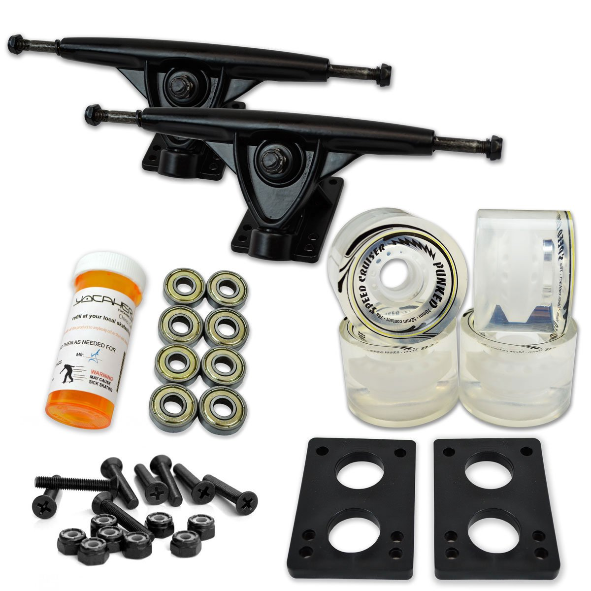 Yocaher LONGBOARD Skateboard TRUCKS COMBO set w/ 71mm WHEELS + 9.675'' Polished/Black trucks Package, Gel Clear Wheel, Black Trucks by Yocaher