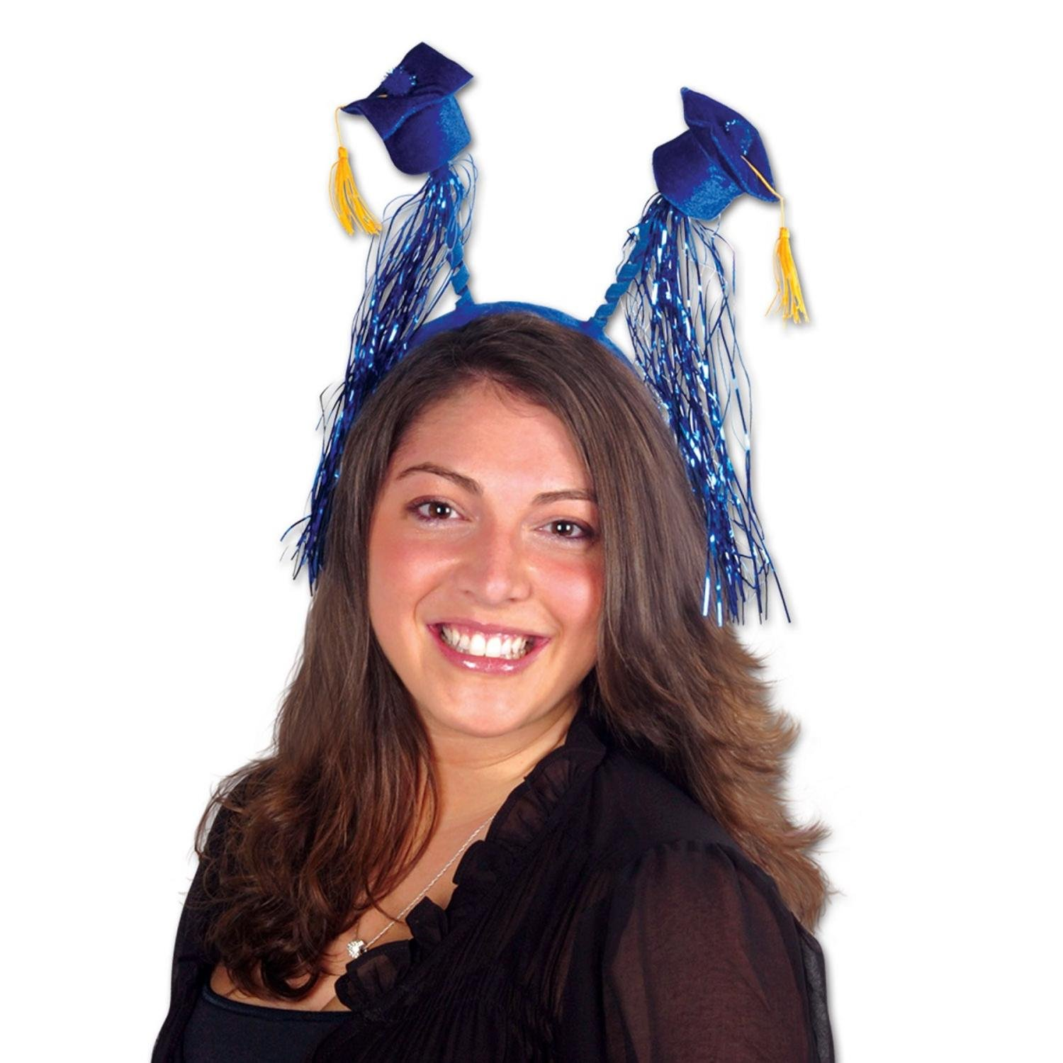 Club Pack of 12 Blue Graduation Cap with Fringe Bopper Headband Party Favors