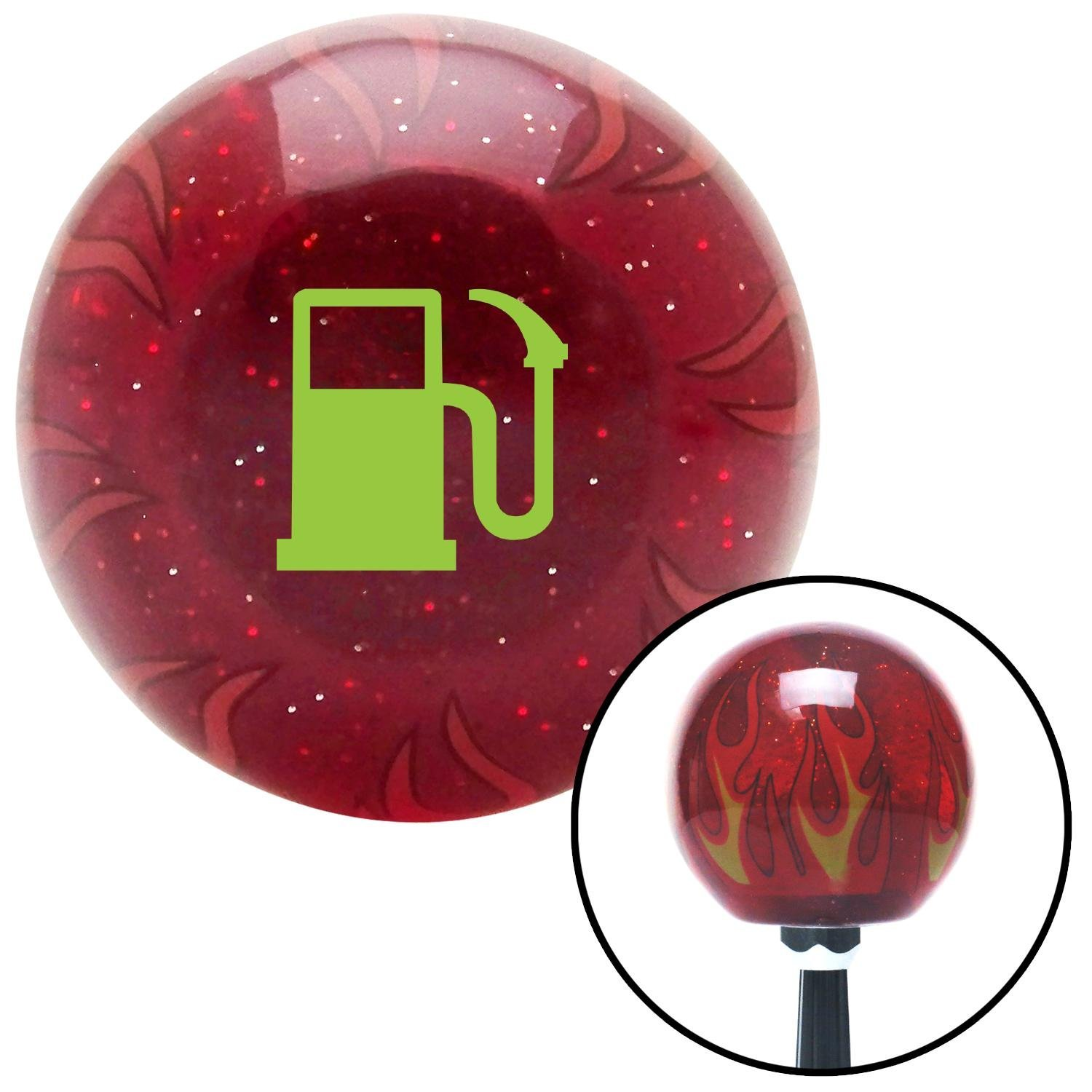American Shifter 235995 Red Flame Metal Flake Shift Knob with M16 x 1.5 Insert Green Gas Station Tank