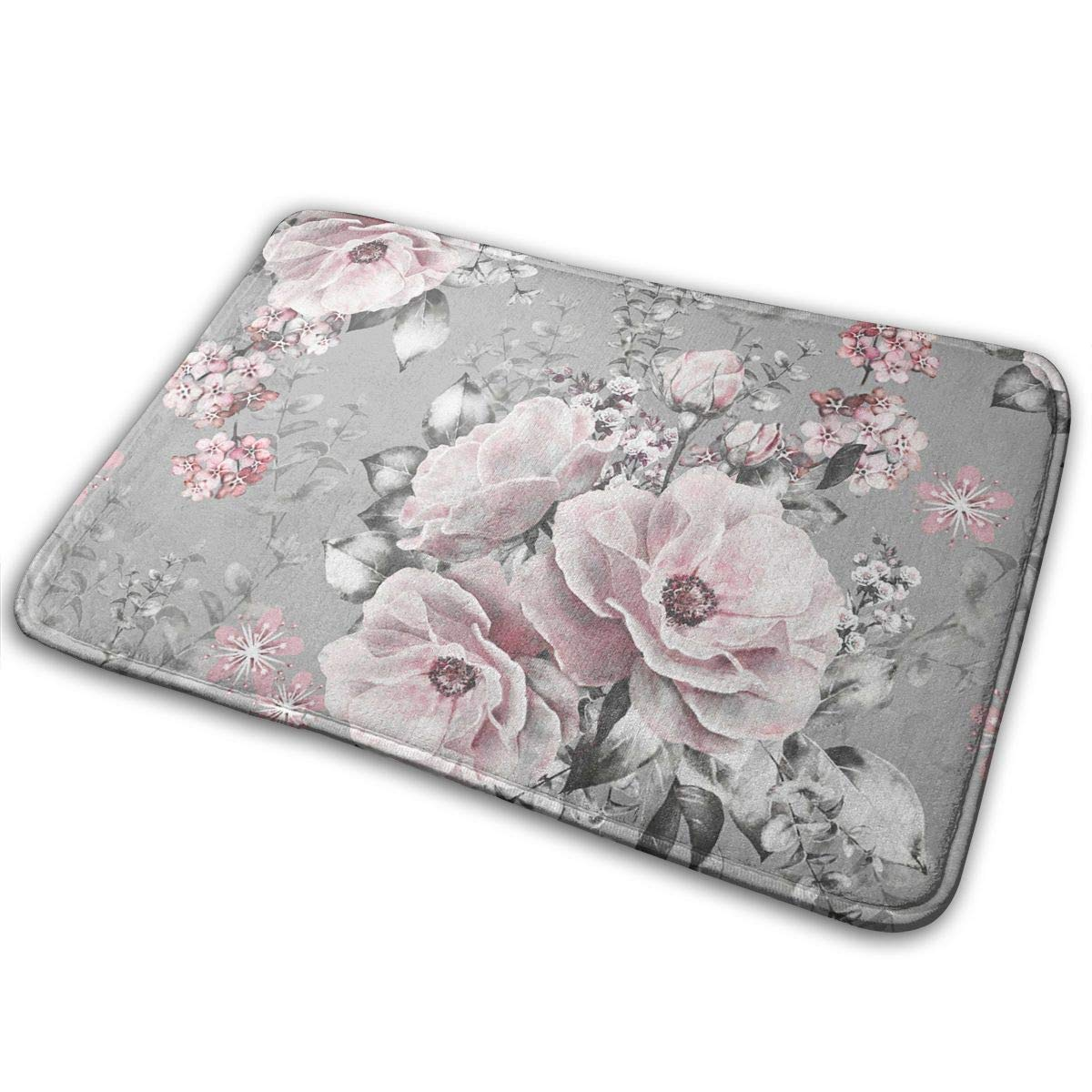 L W Inch Pink Flowers and Leaves Gray,Anti Slip Machine Washable Door Mat Bathroom Kitchen Rug Bathroom Mats Thicken Playmat Multi-Purpose Floorcover 31.5 X 19.7
