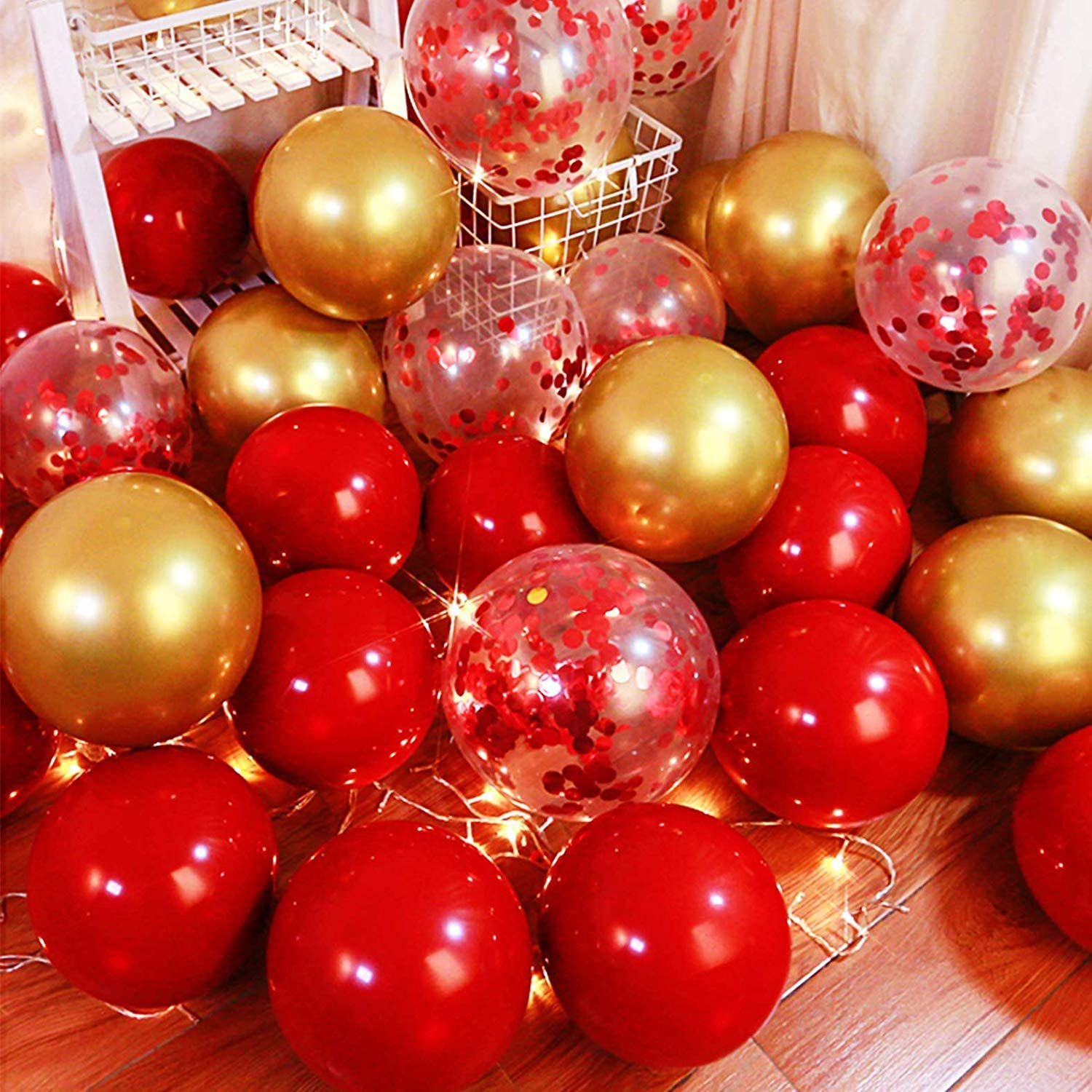 zorpia 100 Pieces Red and Gold Balloons Kit Latex Gold Metallic Balloons Red Confetti Balloons for Wedding Bridal Shower Birthday Party Anniversary Decoration