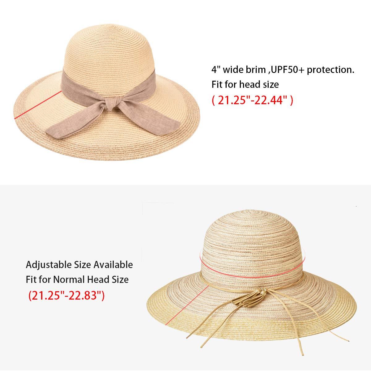 SOMALER Women Floppy Sun Hat Summer Wide Brim Beach Cap Packable Cotton Straw Hat for Travel by SOMALER (Image #4)