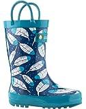 Oakiwear Kids Rubber Rain Boots with Easy-On Handles | Construction, Polka Dot, Safari, Feathers, Frozen