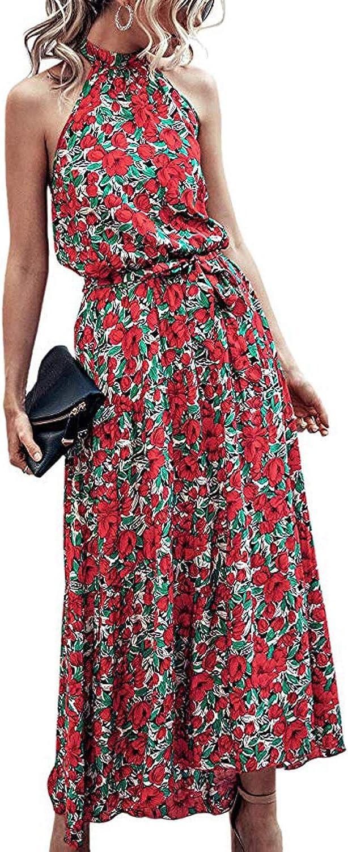 YAMTHR Womens Dresses-Halter Neck Sleeveless Elastic Waist Skater Backless Casual Mini Dress