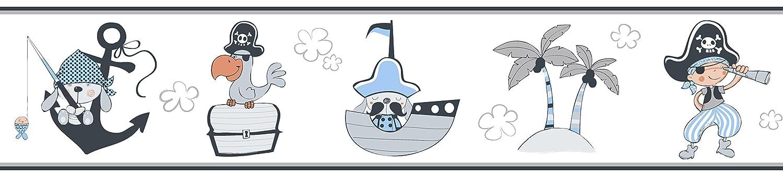 Rasch Textil Papierborte Bordüre selbstklebend - Bimbaloo 2- 330488 weiß blau grau Piraten 593-3