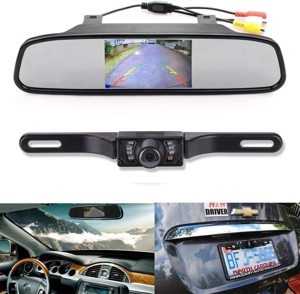 """Backup Camera and Monitor Kit EinCar 4.3"""" Car Vehicle Rearview Mirror Monitor for DVD/VCR/Car Reverse Camera + CMOS Rear-view License Plate Car Rear Backup Parking Camera With 7 LED Night Vision"""
