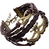 Habors Brown Leather Multiband Infinity Charm Unisex Bracelet
