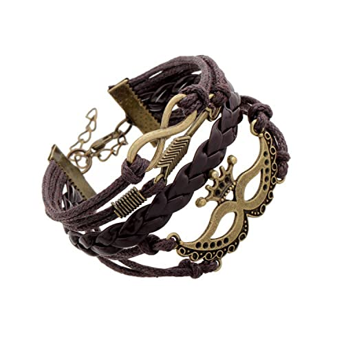 Habors Brown Leather Multiband Infinity Charm Unisex Bracelet <span at amazon