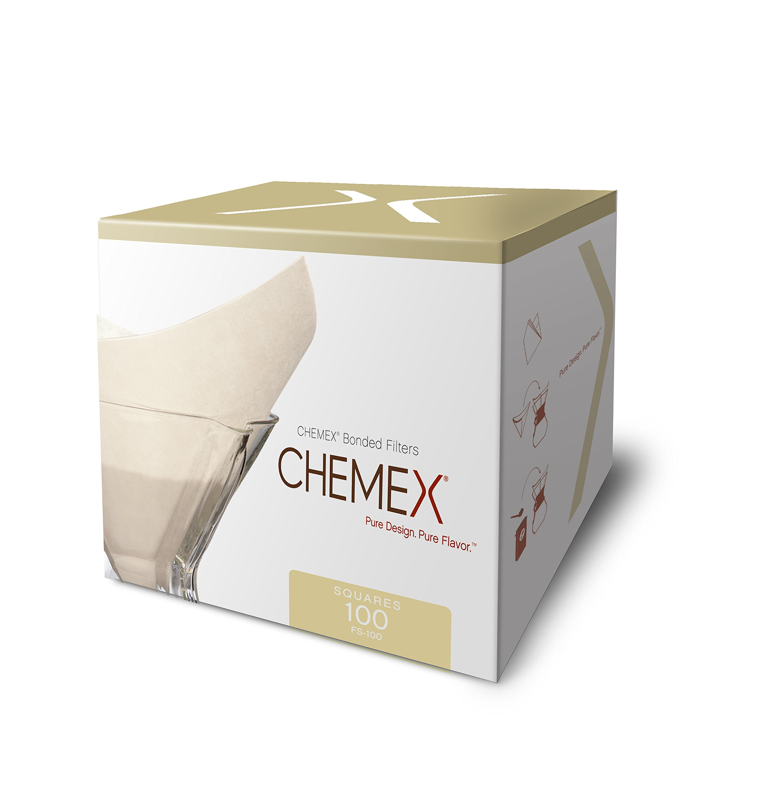 Chemex Classic Coffee Filters, Squares, 100 ct - Exclusive Packaging by Chemex