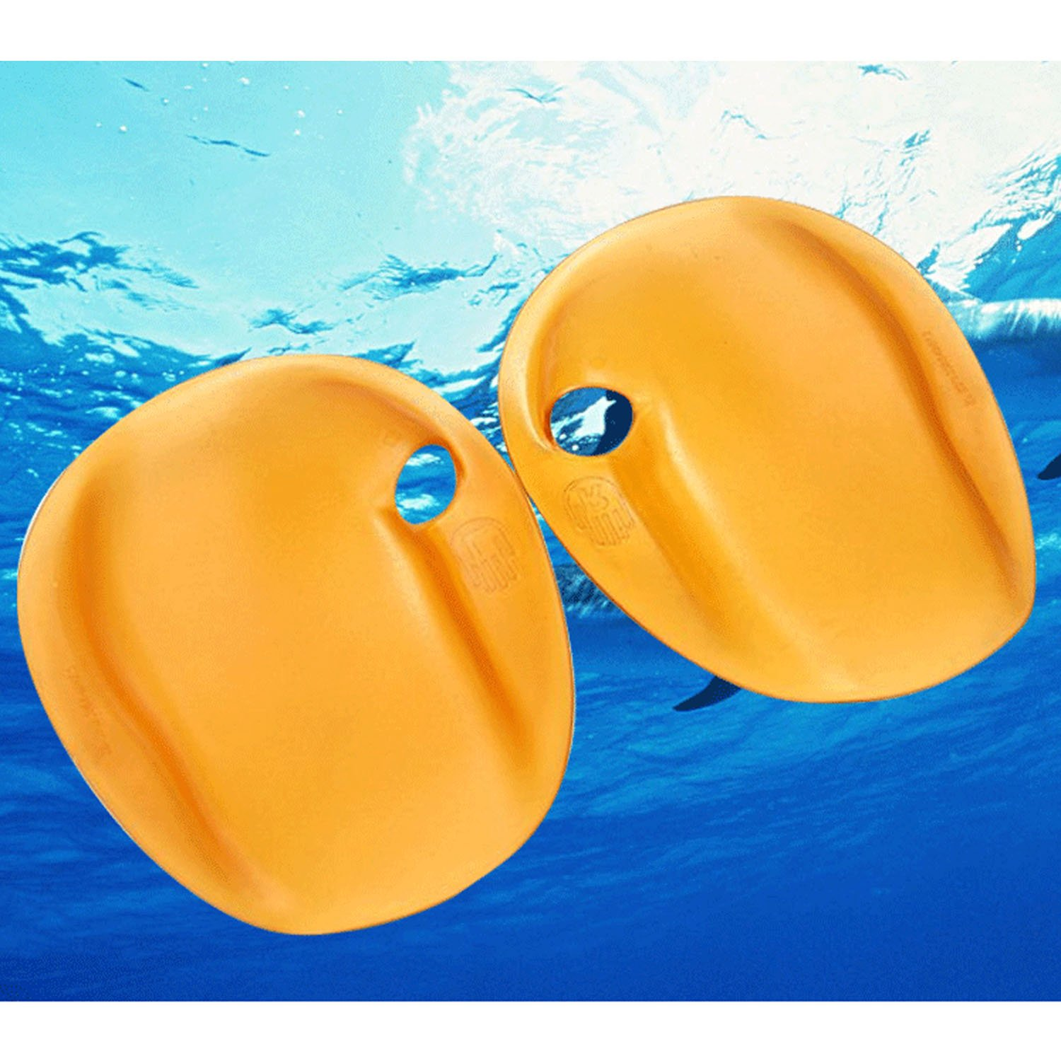 Beetest-1Pair Fashion Portable Swimming Strapless Agility Hand Paddles Swim Training Paddles for Women Lady Size M Yellow