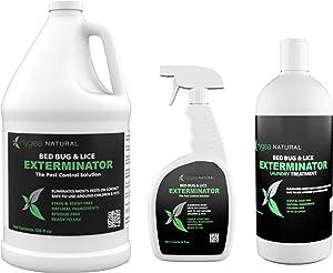 Hygea Natural Exterminator Combo Pack, Non Toxic Treatment, Natural Bugs & Lice Eradicator, Includes Bed Bug Spray 24 oz, Refill 128 oz & Laundry Treatment 32 oz