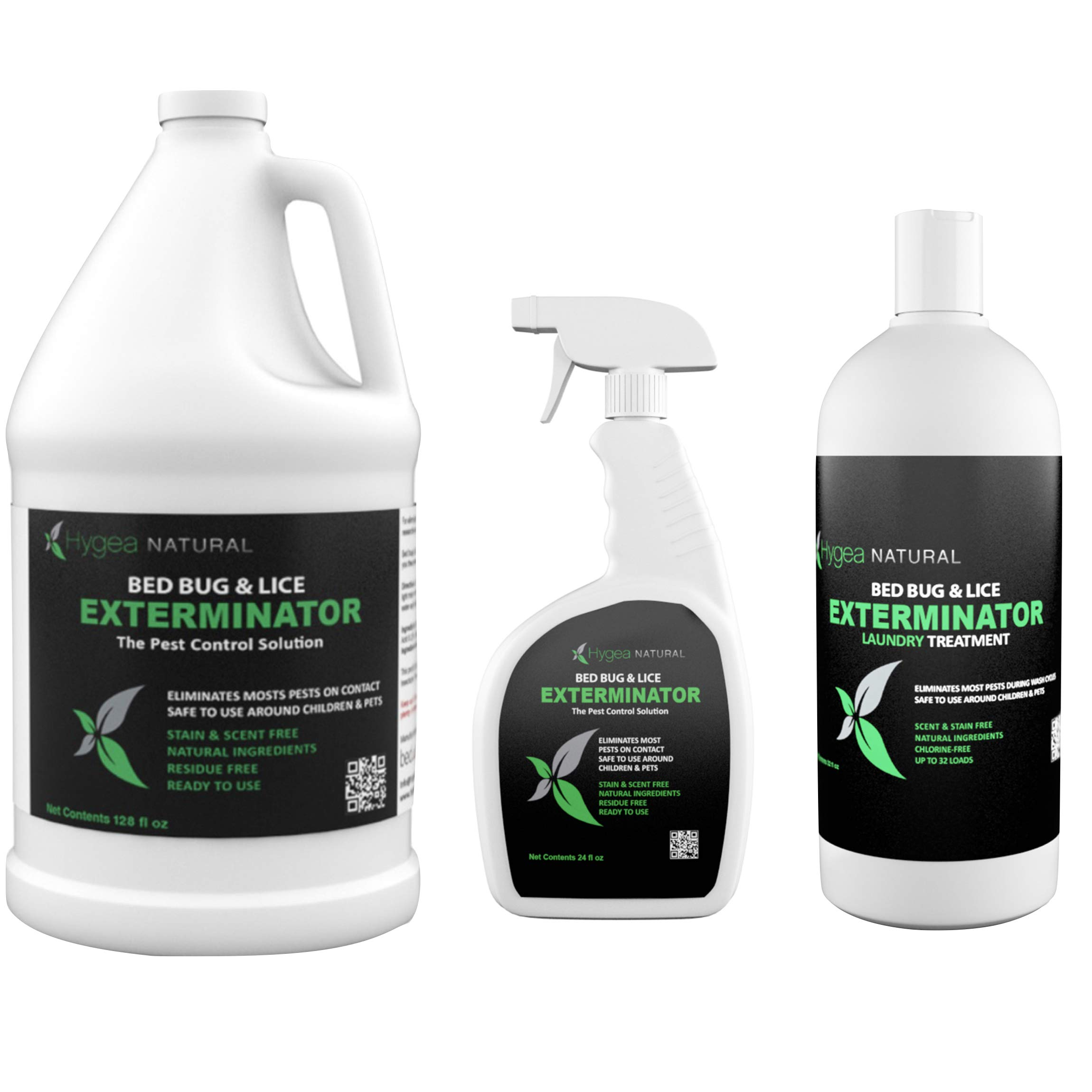 Hygea Natural Exterminator Combo Pack, Non Toxic Treatment, Natural Bugs & Lice Eradicator, Includes Bed Bug Spray 24 oz, Refill 128 oz & Laundry Treatment 32 oz by Hygea Natural