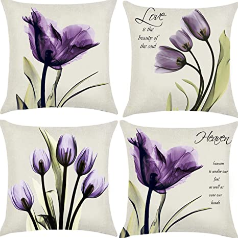 Floral Tulip Throw Pillow Cover Purple Flower Sofa Couch Decorative Cushion Case