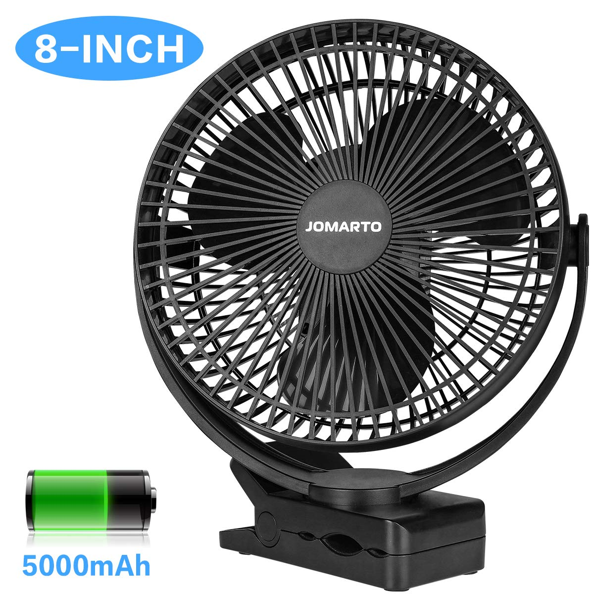 JOMARTO Desk Clip on Fan, Battery Operated Fan with 5000mAh, 4 Speeds Strong Clamping Portable Cooling USB Rechargeable Fan for Baby Stroller Crib Treadmill Office Outdoor