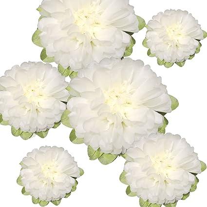 Amazon Com Paper Flower Decorations 6 X Off White Paper Flower