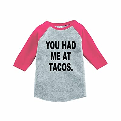 7 ate 9 Apparel Funny Kids You Had Me At Tacos Baseball Tee Pink