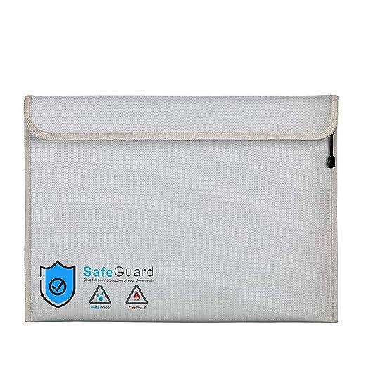 Bolsa Ignifuga Impermeable | Bolsas Ignifugas Documentos | Bolsa Ignifuga Dinero de Silicona Mejorada con Gel de Sílice Desecante 30g(40 x 28 cm)