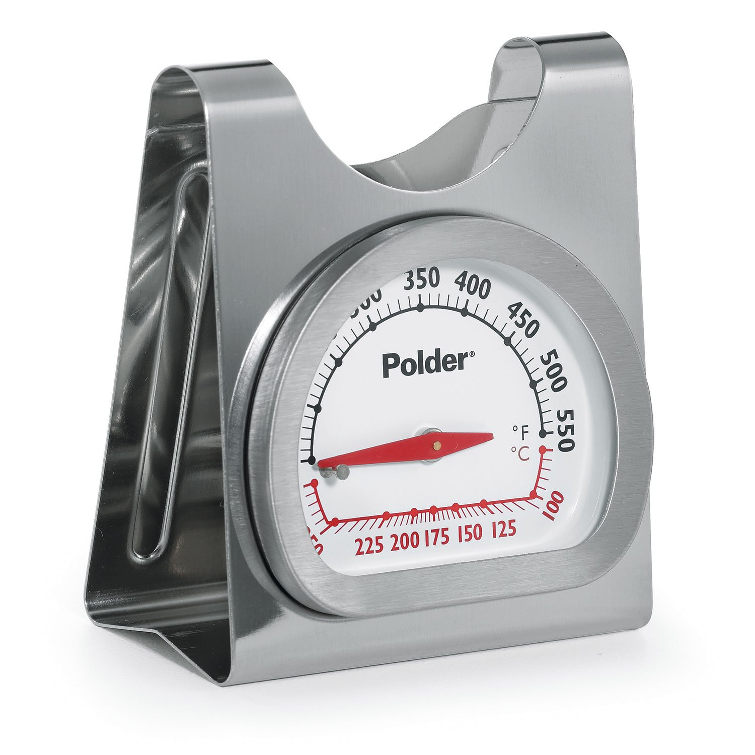 Polder 12452 Deluxe Oven Thermometer, Stainless Steel, Bi-Metal, Stands or Hangs