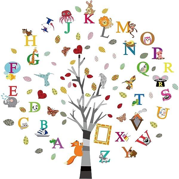 ufengke Pegatinas de Pared Árbol del Inglés Alfabeto Vinilos Adhesivos Pared Animales Letras Decorativos para Habitación Infantiles Bebés: Amazon.es: Hogar