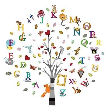 Amazon Com Ufengke Alphabet Abc Tree Wall Stickers Animals