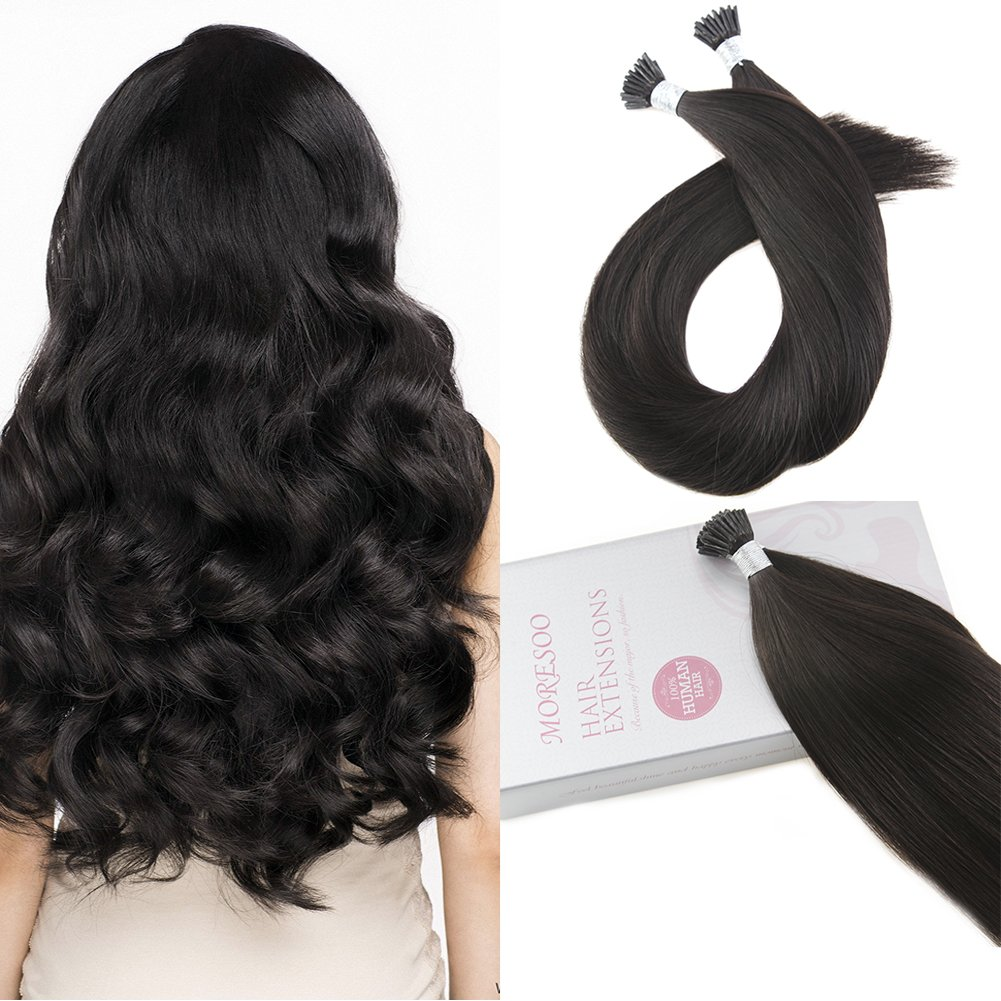 Amazon Moresoo 22 Inch Cold Fusion Hair Extensions Black
